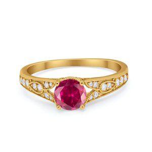 Vintage Style Art Deco Round CZ Wedding Ring